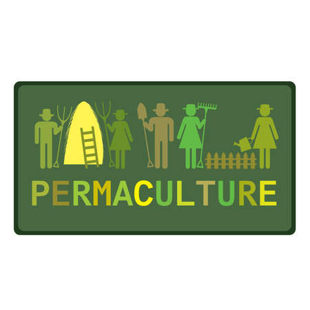 Permaculture concept with stylized pictograms of workers