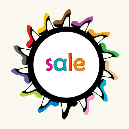 Sale round frame with female colorful shoes