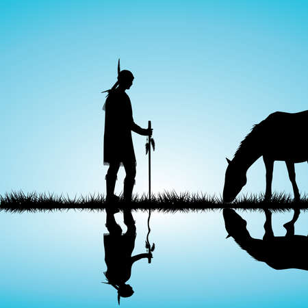 American Indian silhouette with horse on the shore of a lake reflecting in the water