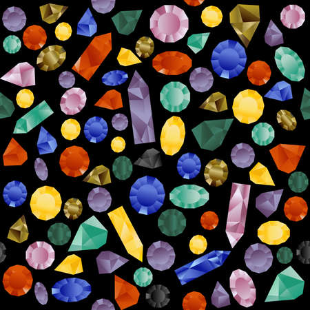 Colorful seamless pattern with gemstones on black background