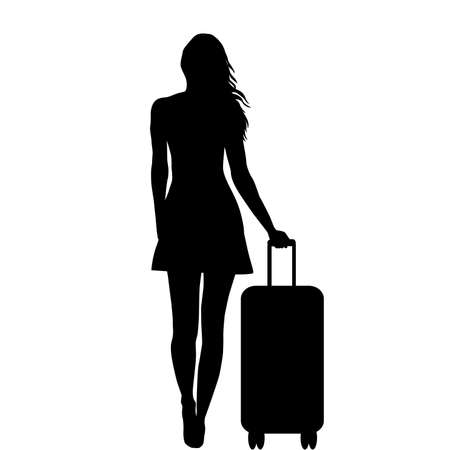Full length of young female  silhouette with  travel bag, isolated on white background