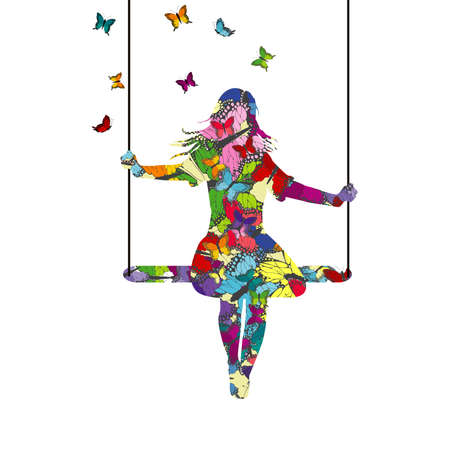 Abstract colorful  young woman silhouette who is swinging and butterflies fly around her Ilustrace