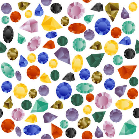 Colorful seamless pattern with gemstones on white background