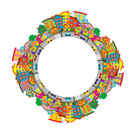 Round city frame with colored cartoon houses
