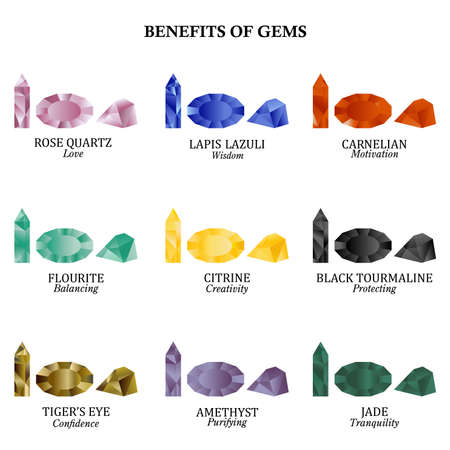 Set of nine magic and precious gemstones with its benefits