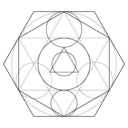 Alchemical sign, transmutation sign isolated on white background Ilustrace