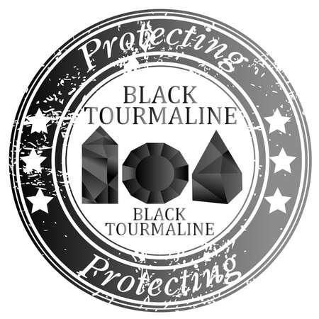 Rubber stamp with Black Tourmaline gems Ilustrace