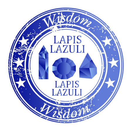 Rubber stamp with lapis lazuli gems and lapis lazuli benefit
