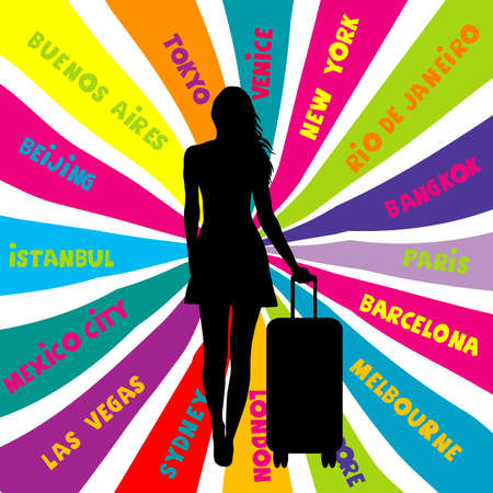 Travel concept with silhouette of female tourist and travel destinantions Ilustrace