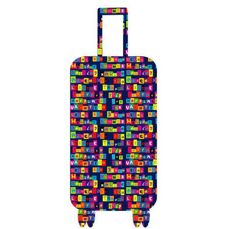 Travel suitcase with colored typography pattern with motivation for traveling Reklamní fotografie