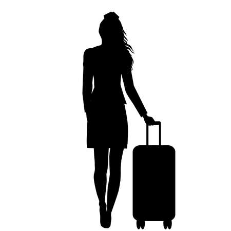 Silhouette of stewardess woman isolated on white background Ilustrace
