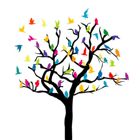 Tree with colored birds on white background