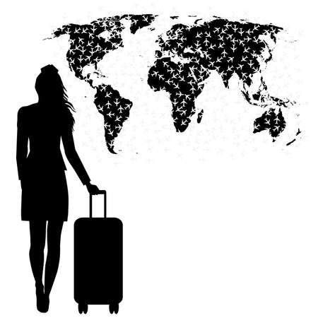 Stewardess silhouette with planes flying  above the world map