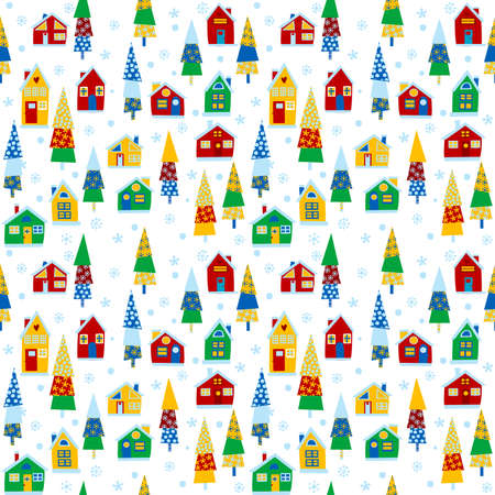 Cartoon winter background with houses