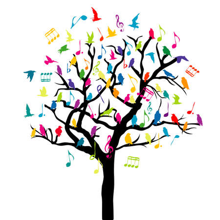 Music concept with colored birds and musical notes on a tree