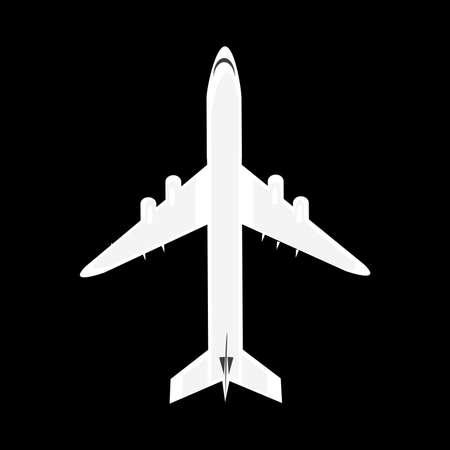 Plane isolated on black background Ilustrace