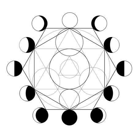 Symbol of alchemy and moon phases