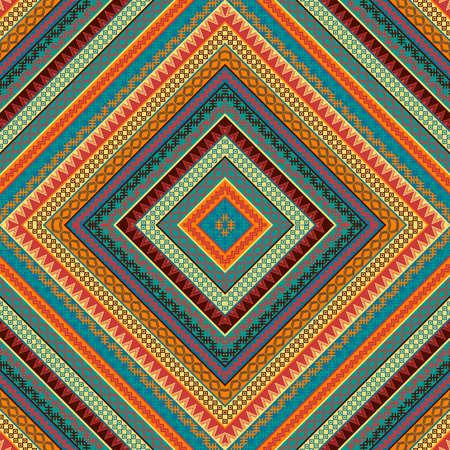 Geometric decorative seamless pattern with ethnic motifs