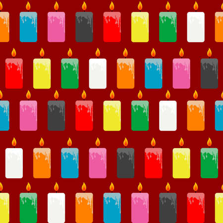 Wrapping papaer with colored candles on red  background