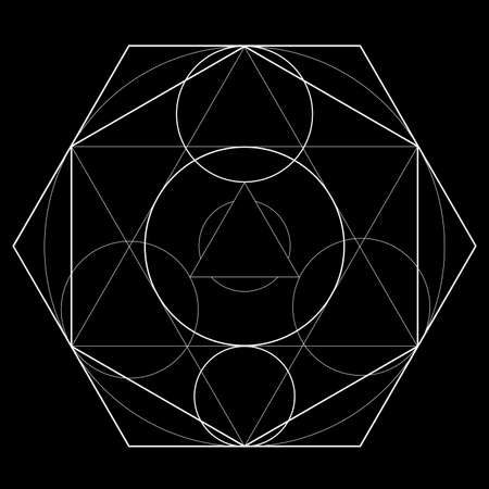 Symbol of alchemy and sacred geometry on black background