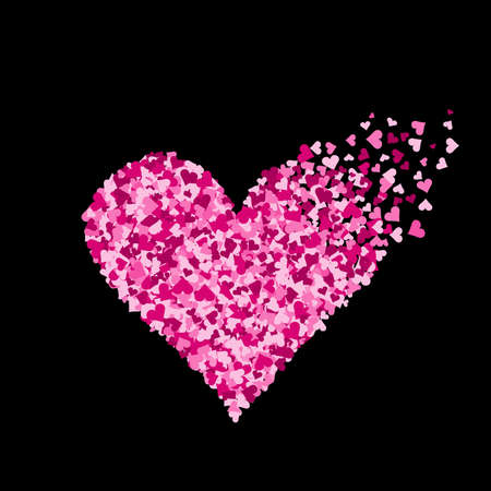 Pink heart made of a lot of hearts Ilustrace