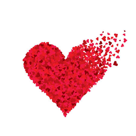 Red flying hearts of different sizes in the shape of heart Ilustrace