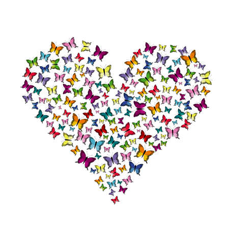 Flying butterflies pattern in heart shape isolated on white background Ilustrace