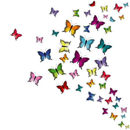 Colorful flying butterflies isolated on white background Ilustrace
