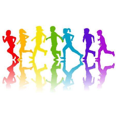Rainbow colors silhouettes of children running