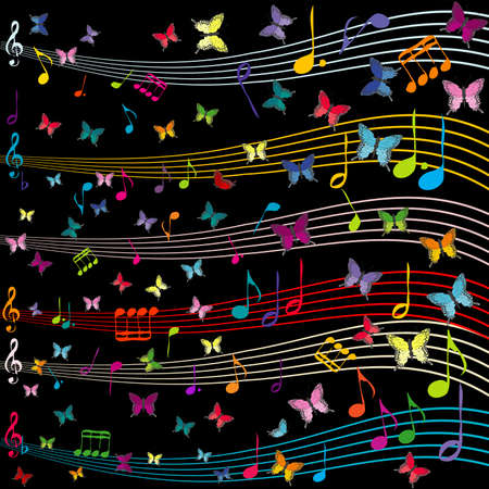 Musical background with stave and butterflies flying