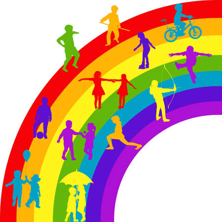 Silhouettes of happy kids playing on rainbow Ilustrace