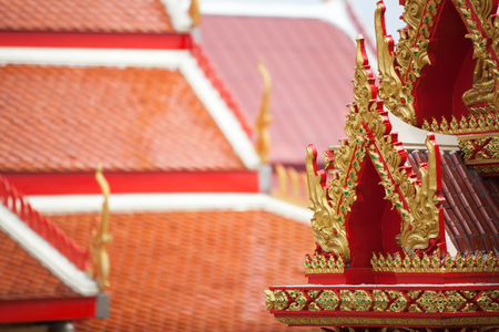 Red Thai temple roof in Thailand