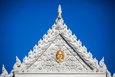 thai temple and blue sky in thailand
