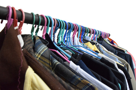 closet rod: fashion clothing on hangers Stock Photo