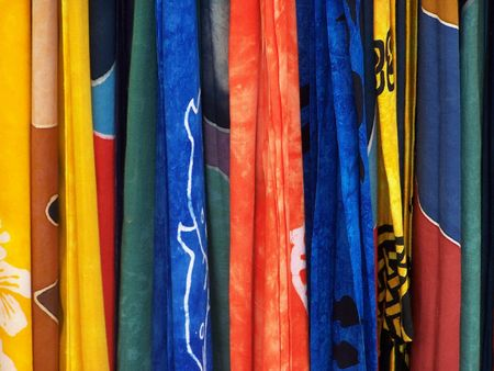 Textiles Of Many Colors Stock Photo
