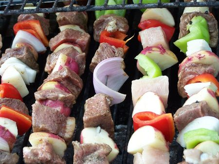 Shish Kabobs On Grill