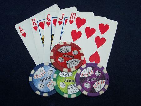 Poker Win Royal Flush Las Vegas Stock Photo