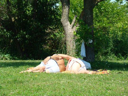 Senior lovers on the grass
