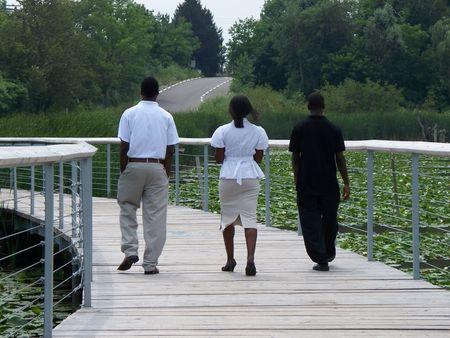 African Americans walking