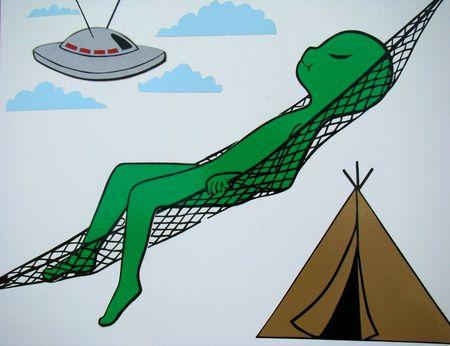 Martian camping sleeping on hammack
