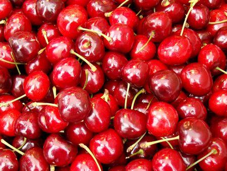 bing: bing cherries on a market stall Stock Photo