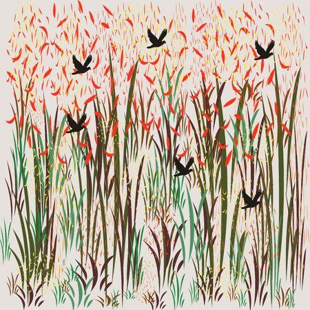 Birds flying through the grasslands