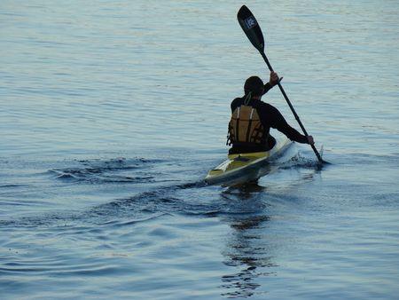 Man Kayaking Banco de Imagens