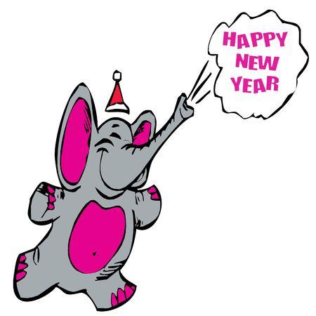 Happy New Year Elephant Stock Photo