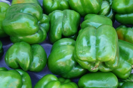 fresh organic green bell peppers                         photo