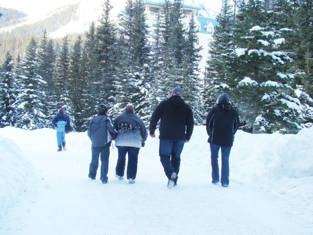 Family Walking in Winter