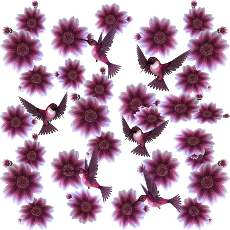 Hummingbirds and Flowers Illustration