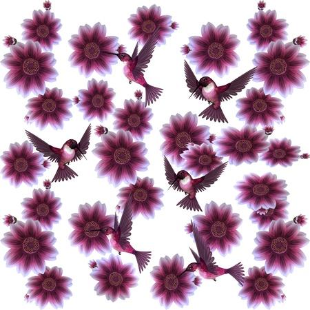Hummingbirds and Flowers Illustration illustration