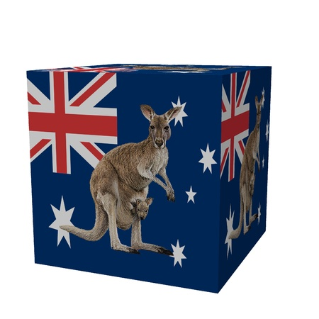 australian 3d flag cube Stock Photo
