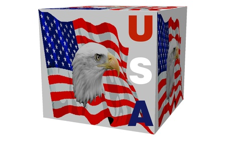 3d American Eagle and Flag Cube Stock Photo